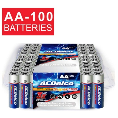 1. ACDelco AA Alkaline Batteries in the Recloseable Package (100 Count)