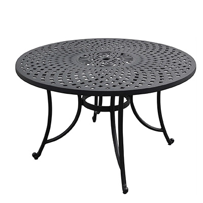 3. Crosley Furniture CO600148-BK Sedona Solid-Cast Aluminum Outdoor Dining Table, 46-inch, Black