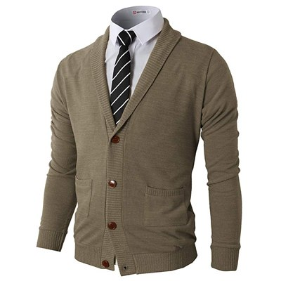 1. H2H Men's Casual Comfortable Fit Cardigan Sweater Shawl Collar Soft Fabric with Ribbing Edge