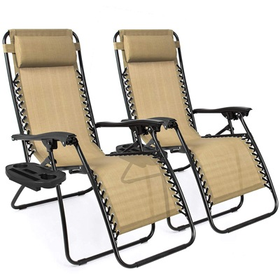 1 Best Choice Products Set of 2 Adjustable Zero Gravity Lounge Chair Recliners
