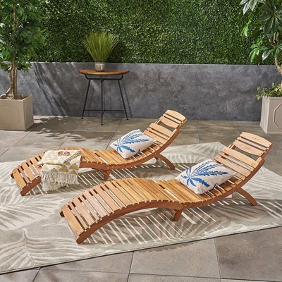 6. Great Deal Furniture 296060 (Set of 2) Lisbon Outdoor Folding Chaise Lounge Chair