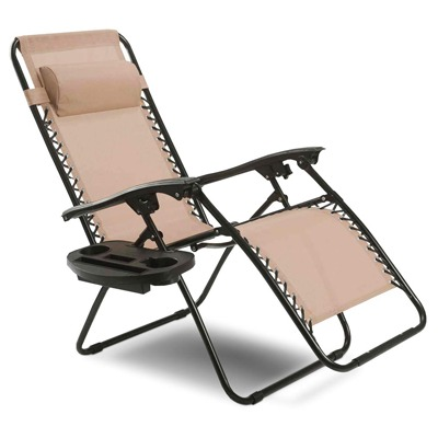 3. Goplus Folding Zero Gravity Reclining Lounge Chairs Outdoor Beach Patio W/Utility Tray
