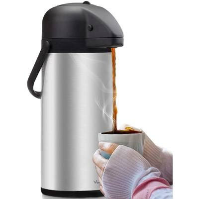 5. Airpot Coffee Carafe - Thermal Beverage Dispenser (102 oz.) By Vondior. Insulated Stainless Steel Coffee Thermos Urn for Hot/Cold Water, Pump Action Airpot, Party Chocolate Drink