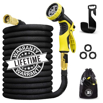 1. J&B XpandaHose 75ft Expandable Water Garden Hose with Holder