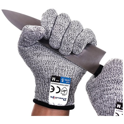 3. Dowellife Cut Resistant Gloves Food Grade Level 5 Protection