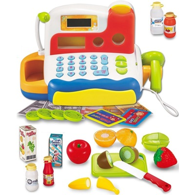 3. FUNERICA Durable Cash Register Toy for Kids | with Electronic Sounds, Microphone
