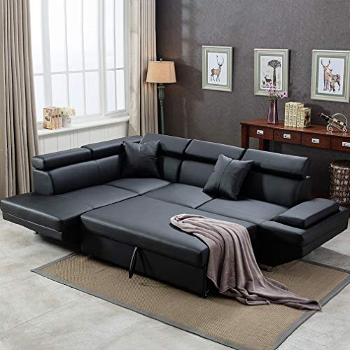 10. FDW Sectional Sofa Bed Faux Leather Contemporary Black