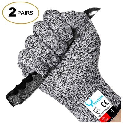 6. YINENN 2 Pairs (4 Gloves) Cut Resistant Gloves Food Grade Level 5 Hand Protection