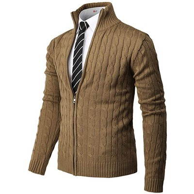 4. H2H Men's Casual Slim Fit Knitted Cardigan Zip-up Long Sleeve Thermal with Twisted Pattern