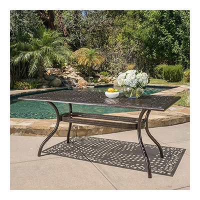 4. Christopher Knight Home Monteria Bronze Cast Aluminum Rectangle Table