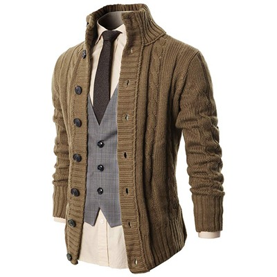 2. H2H Men's Casual Slim Fit Cardigan Sweater Knitted Thermal Button Down Closure