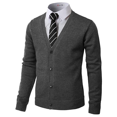 5. H2H Men's Casual Slim Fit Cardigan Long Sleeve Cable Knitted Zip-up Cardigan Sweater Jacket