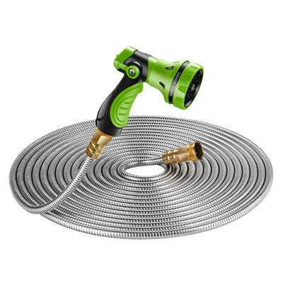 3. BEAULIFE New 304 Stainless Steel Metal Garden Hose with 8 Functions Metal Garden Hose Nozzle