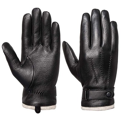 4. Acdyion Mens Genuine Leather Gloves Winter