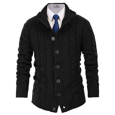 8. PAUL JONES Men's Stylish Stand Collar Cable Knitted Button Cardigan Sweater