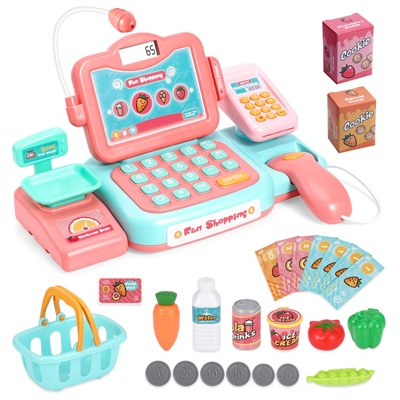 4. Chuntianli Durable Cash Register Toy-Pretend Play Educational Toy Cash Register with Scanner