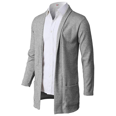 3. H2H Men's Fashion Slim Fit Open Front Long Sleeve Shawl Collar Pullover Cardigan