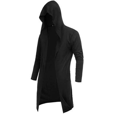10. RAGEMALL Men's Long Cardigan Open Front Draped Lightweight Hooded Sweater with Pockets
