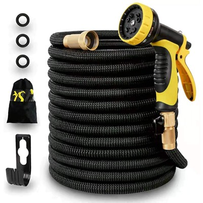 6. 75ft Expandable Garden Water Hose, Natural Latex Core, Super Strong Brass Connectors