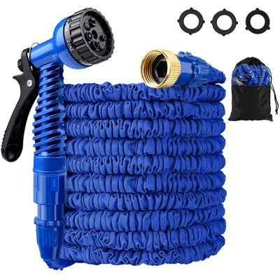 8. LOKMAN Expandable Garden Hose Kit, 75ft Stretchable Water Hose with Nozzle and Solid Fittings