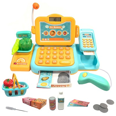 9. YYoomi Pretend Play Educational Cash Register Toy Classic Counting Toy with Microphone