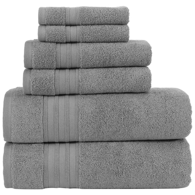 8. Hammam Linen Luxury Bath Towel Set - Cool Grey - Combed Cotton Hotel Quality Absorbent