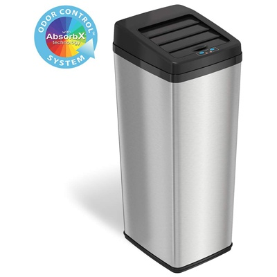 6. iTouchless 14 Gallon Sliding Lid Automatic Sensor Trash Can