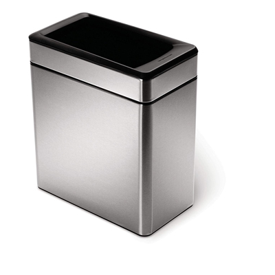 10. simplehuman 10 Liter / 2.6 Gallon Profile Open Trash Can, Brushed Stainless Steel
