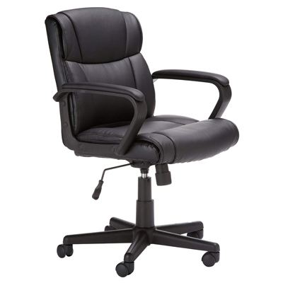 1. AmazonBasics Classic Leather-Padded Mid-Back Office Desk Chair with Armrest - Black