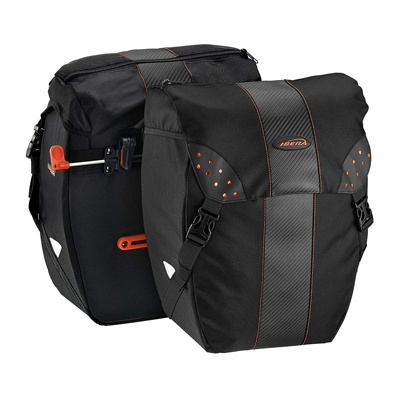 4. Ibera Bicycle Bag PakRak Clip-On Quick-Release All Weather Bike Panniers (Pair), Includes Rain Cover