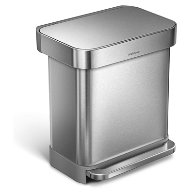 1. simplehuman 30 Liter / 8 Gallon Stainless Steel