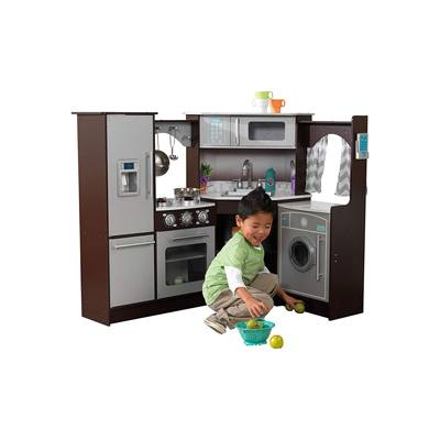 6. KidKraft Ultimate Corner Play Kitchen with Lights & Sounds, Espresso