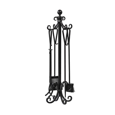 8. 5 Pieces Scroll Fireplace Set Black Cast Iron by AMAGABELI GARDEN & HOME
