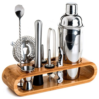 6. Mixology Bartender Kit: 10-Piece Bar Tool Set with Stylish Bamboo Stand