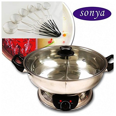 10. Bonus Package Sonya Shabu Shabu Hot Pot Electric Mongolian Hot Pot W/DIVIDER