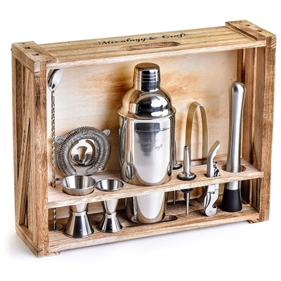8. Mixology Bartender Kit: 11-Piece Bar Tool Set with Rustic Wood Stand