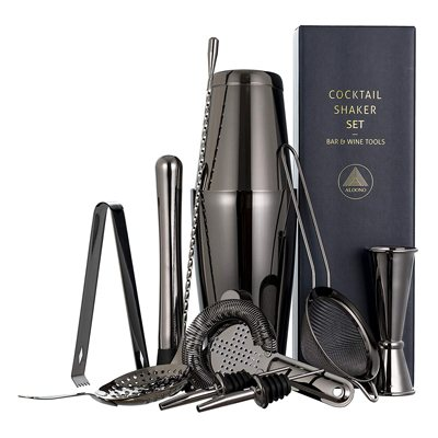 7. 11-piece Black Cocktail Shaker Bar Set: 2 Weighted Boston Shakers