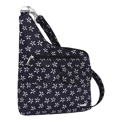 1. Travelon Anti-Theft Cross-Body Bag, Two Pocket (A B/W SMALL FLOWER PRINT)