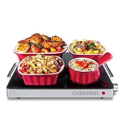 2. Chefman Compact Glasstop Warming Tray