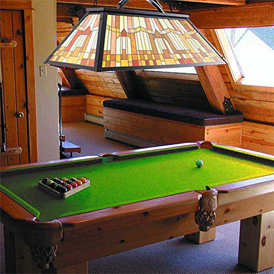 1. Wellmet Vintage 3-Light Pool Table