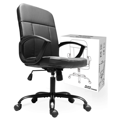 3. Office Chair, Mid Back Premium Bonded Leather