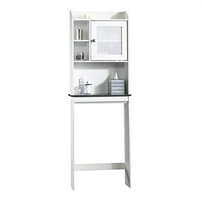 10. Sauder Caraway Etagere, Soft White/Slate Finish