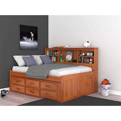 1. Discovery World Furniture Honey Finish 6 Drawers Daybed Bookcase – Full