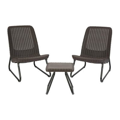 2. Keter Rio 3 Piece Resin Wicker Furniture Set with Patio Table