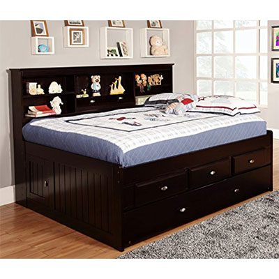8. Discovery World Furniture Espresso 3 Drawers Daybed with Twin Trundle - Full