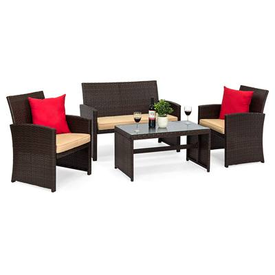 5. Best Choice Products 4-Piece Wicker Patio Conversation Furniture Set