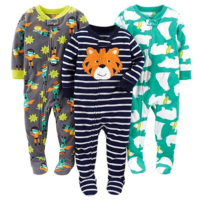 3. Simple Joys by Carter's Boys' 3-Pack Loose Fit Flame Resistant Fleece Footed Pajamas