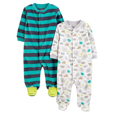 7. Simple Joys by Carter's Baby Boys' 2-Pack Fleece Footed Sleep and Play