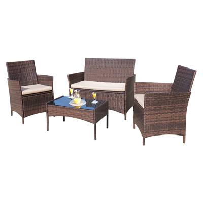 1. Homall 4 Pieces Outdoor Patio Furniture Sets Rattan Chair Wicker Set