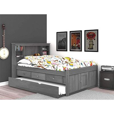 3. Discovery World Furniture Charcoal 3 Drawers Bookcase Bed with Trundle - Full